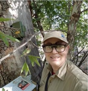 Jennie in Pine Canyon in the Chiricahua Mountains in SE Arizona during a Yellow-billed Cuckoo survey.